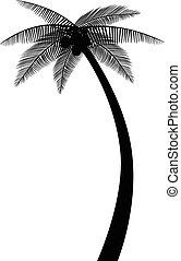 silhuet, håndflade træ