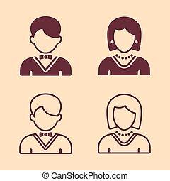 silhuet, iconerne, fire, vektor, kvindelig, mandlig