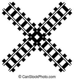 silhuet, jernbane, skinne vej, w, banen, illustration