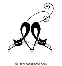 silhuet, katte, to, konstruktion, graciøs, din, sort