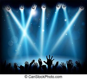 silhuet, koncert, flok, folk, hænder, gilde, phasen