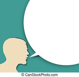silhuet, stor, abstrakt, taler, boble, tom