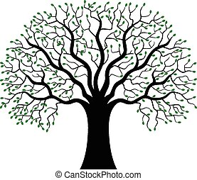 silhuet, træ, grønne, cartoon
