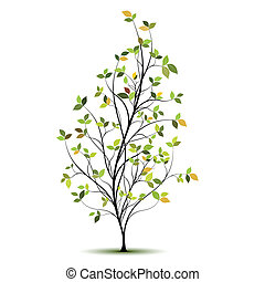 silhuet, vektor, træ, grønne