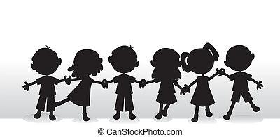 silhuetter, børn, baggrund