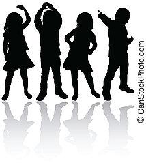 silhuetter, børn, dansende