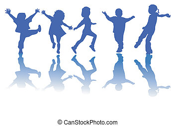 silhuetter, børn, glade