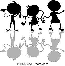 silhuetter, børn, sort