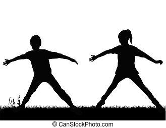 silhuetter, børn, sport.
