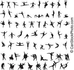 silhuetter, baldamen, sæt, ballet