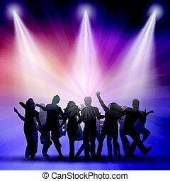 silhuetter, folk, dansende