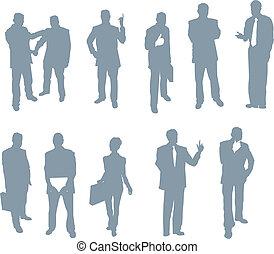 silhuetter, folk, kontor, firma