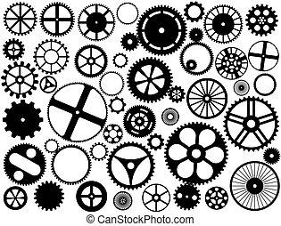 silhuetter, gear hjul