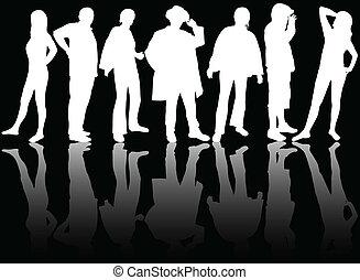 silhuetter, gruppe, folk