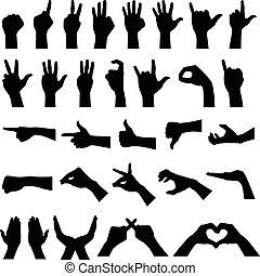 silhuetter, hånd gestus, tegn
