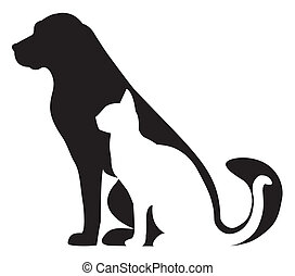 silhuetter, kat, komposition, hund