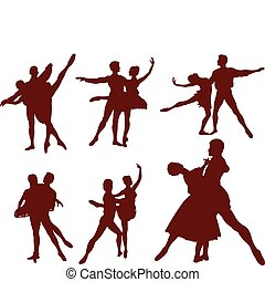 silhuetter, par, ballet