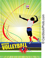 silhuetter, sæt, volleyball, kvinder