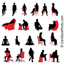 silhuetter, siddende, folk