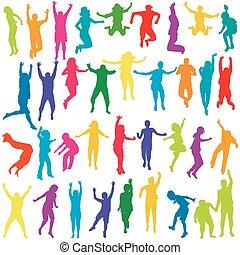 silhuetter, springe, børn, unge mennesker