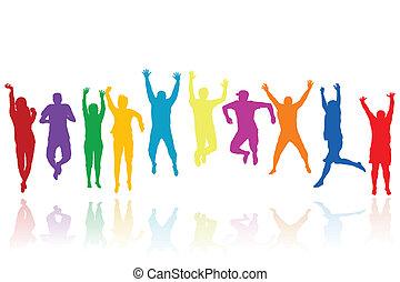 silhuetter, springe, gruppe, unge mennesker