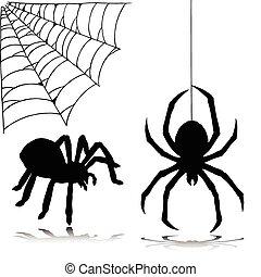 silhuetter, vektor, edderkop, to