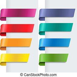 silke, baggrund, bånd, sæt, hvid, farverig