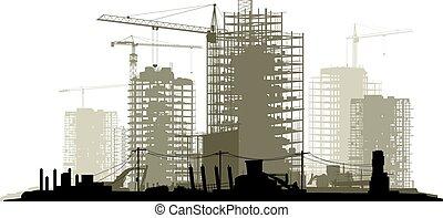 site, illustration, konstruktion, beklæde, kran, bygning.