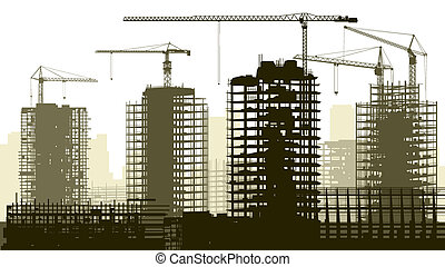 site., konstruktion, illustration