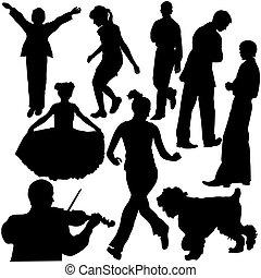 situationer, forskellige, silhuetter, (vector), folk