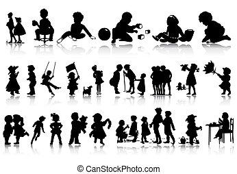 situations., illustration, silhuetter, vektor, adskillige, børn
