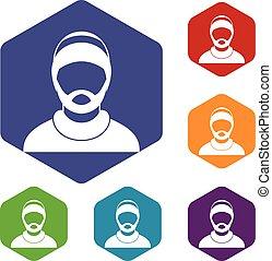 skægget, sæt, avatar, mand, iconerne