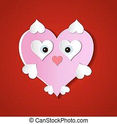 skære, heart., valentine's, abstrakt, illustration, avis, vektor, baggrund, dag