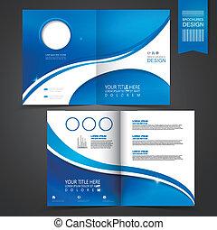 skabelon, blå, brochure, konstruktion, reklame