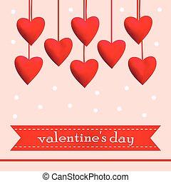 skabelon, hils, illustration, vektor, card, hjerter, rød