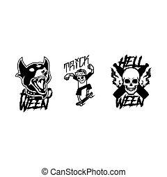 skabelon, kranium, vektor, sæt, halloween, hund