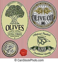 skabeloner, oliven, sæt, træ, olie