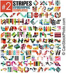 skabeloner, uhyre, sæt, infographic, stribe, #2