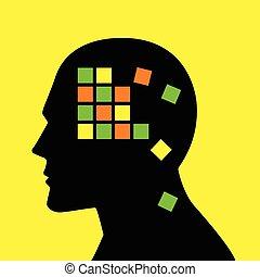 skade, begreb, alzheimer's, forstand, disease, grafik, minde, eller