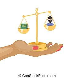 skalaer, retfærdighed, vektor, illustration., lov, forbryder, cartoon, bog