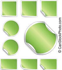 skalle, grænse, stickers, hvid, grønne