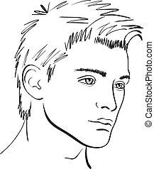 sketch., zeseed, vektor, formgiv element, mand