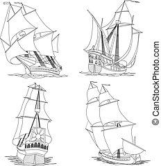 skib, gruppe, sails.