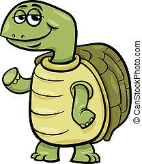 skildpadde, karakter, cartoon, illustration
