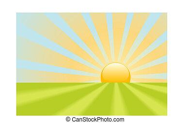 skinne, stråler, scene, gul, klar, jord, solopgang