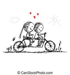 skitse, cycling, par, valentine, konstruktion, sammen, din