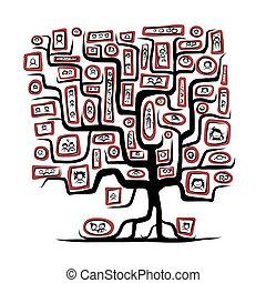 skitse, familie, folk, billederne, træ, konstruktion, din