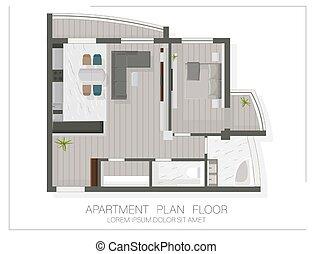 skitse, gulv planlæg, top, lejlighed hus, udsigter., moderne