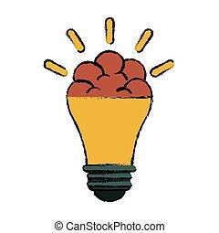 skitse, ide, kreative, hjerne, nyhed, pære