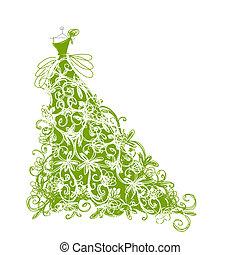 skitse, konstruktion, blomstrede, grønnes klæd, din